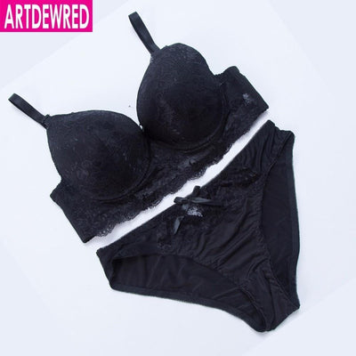 New Noble sexy women's sexy underwear bra deep V-neck push up side gathering bra panties set plus size floral lingerie sets
