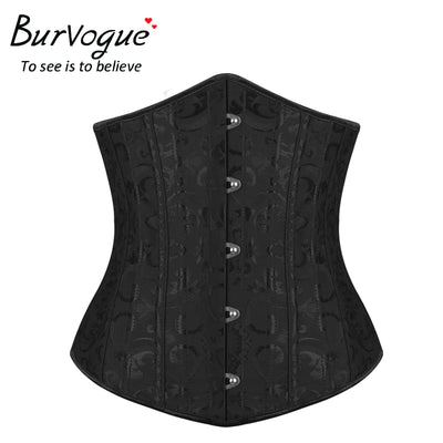 Burvogue Women Corset Underbust 26 Steel Boned Satin Corsets and Bustiers Plus Size Waist Trainer Control Belt for Weight Loss