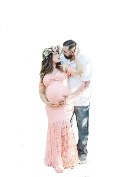 Envsoll Maternity Dress Maternity Photography Props White Lace Sexy Maxi Dress Elegant Pregnancy Photo Shoot Women Lace Dress