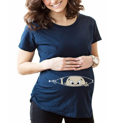 Women Clothing tee Pregnant Maternity Short sleeve T-shirt cotton casual Funny cute baby pregnant women t shirts tops S-XXXL