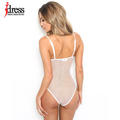IDress New Fashion Black White Bodycon Lace V-Neck Spaghetti Strap Sexy Bodysuit 2018 Autumn Winter See-through Party Bodysuit