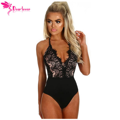 Dear Lover Bodysuits Women Black Eyelash Lace Allure High Waisted Shorts Playsuits Sleeveless Jumpsuits Rompers Body Top LC32258