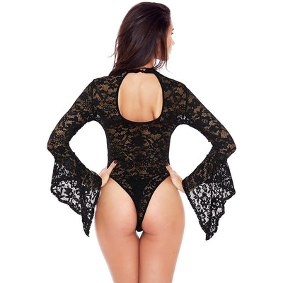 New Autumn Combinaison Femme Black White Sheer Floral Lace Bell Sleeve Turtleneck Bodysuit Long Sleeve Body Mujer Black/White