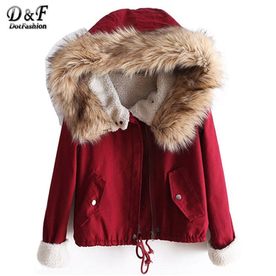Dotfashion Winter/Spring Designer Fashion Women's Outwear Short Causal Solid Fur Hooded Warm Long Sleeve Drawstring Coat