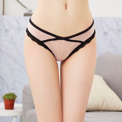 2018 Summer Women Sexy Lace panties ,Women's Low Waist Cotton crotchless Briefs transparent Underwear Thongs Ladys pure Ice pant
