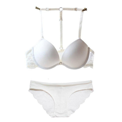 Women's Underwear Set Y-line Straps Sexy Victoria Lingerie Plus Size Front Closure Panty Set Embroidery White Lace Push Up Bra