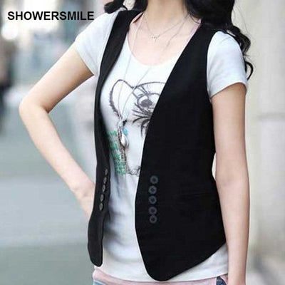 SHOWERSMILE Black Womens Short Suit Vest Slim Fit Waistcoat Adjustable Buckle Sleeveless Blazer Plus Size Jacket Cheap Clothing