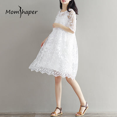Maternity Clothing Summer Dress 2-Piece Set Embroidery White Dresses For Pregnant Women 2018 New Fashion Medium Long Sweet Style