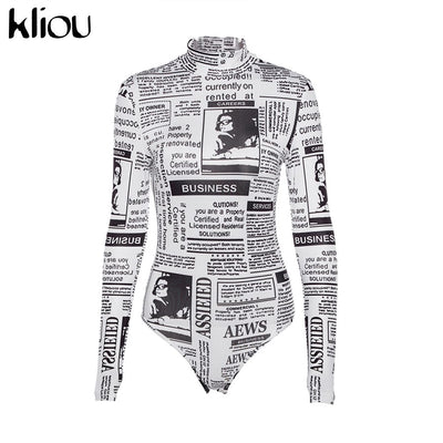 Kliou 2018 autumn women full sleeve letter news print bodysuits hurtleneck women fashion street workout casual bodysuits rompers