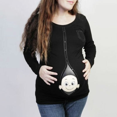 L-3XL Pregnant Soft Cotton O-Neck Funny Print Cartoon Baby Staring Clothes Maternity Long Sleeve Casual Lovely T-shirts Tops S2