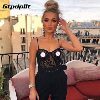 Gtpdpllt Sexy Lace Camisole Streetwear Bodysuit Bodycon Jumpsuit Perspective Mesh Rompers Women Body Overalls Femme Bodysuits