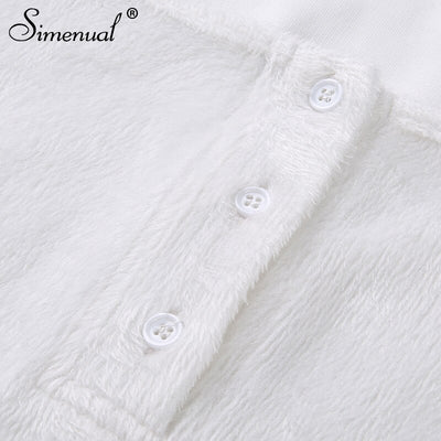 Simenual Square collar bodysuit long sleeve women rompers jumpsuits white hairly bodycons button femme bodysuits solid fitness