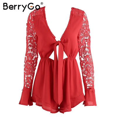 BerryGo Sexy v neck lace summer jumpsuit romper Women hollow out black short playsuit Elegant bow flare long sleeve overalls