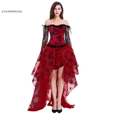 Charmian Women's Vintage Steampunk Corset Dress Victorian Retro Gothic Corset Top Burlesque Lace Corset and Bustiers Party Dress