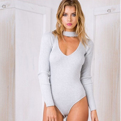 Sexy Choker High Neck Plunge V Long Sleeve Shoulder Women Autumn Spring Ribbed Bodysuits Playsuits Rompers Jumpsuits New