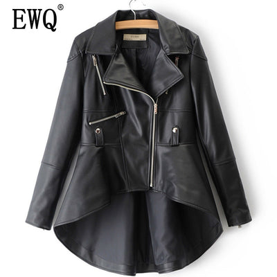 [EWQ] 2019 Spring Winter Woman Solid Color Long Sleeve Turn-down Collar Zippers Irregular Hem Loose PU Coat Jacket LD0325