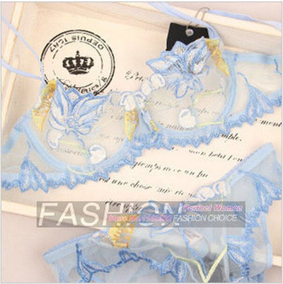 Women New Sexy Transparent Lace Lingerie Set Ultra-thin Underwear Bra Brief and Panties Set Lady Push Up Underwear