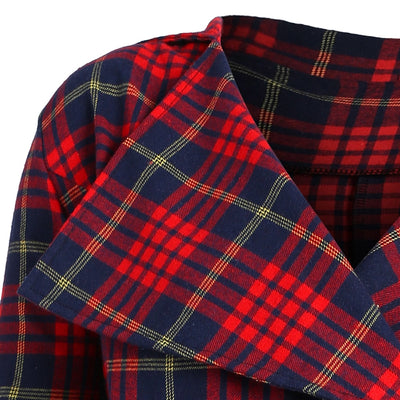 Gamiss Spring Women Coat Vintage Plus Size 5XL Red Plaid Double Breasted Check Coat Long Slim Casual Button Plaid Wool Coats