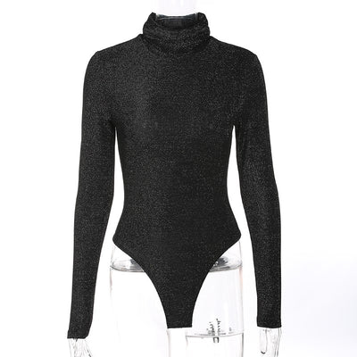 Weekeep Women Sexy Black Boydycon Bodysuit Autumn Winter Turtleneck Long Sleeve Bodysuits Casual Shinny Rompers Combinaison