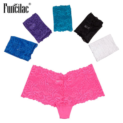 FUNCILAC Women's Boyshorts Sexy Panties Lace Transparent Underwear Print Letter Intimate Lingerie Female Underwear 5Pcs/Lot