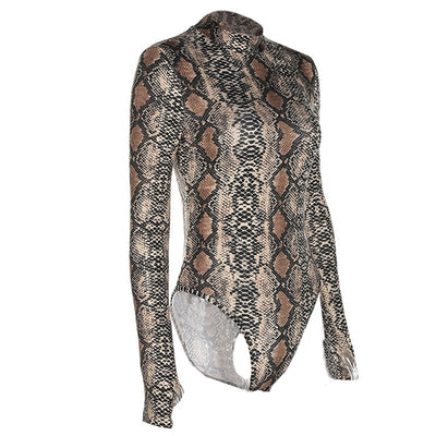 Colysmo Sexy High Neck Long Sleeve Snakeskin Print Bodysuit Animal Printed Autumn Women Romper Playsuit Winter Blouse Tops New