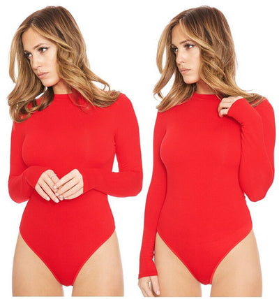 New Summer 2019 Fashion Jumpsuits For Women Sexy Bodysuit O-neck Long Sleeve Skinny Bodysuits High Stretch Solid Women Clothing
