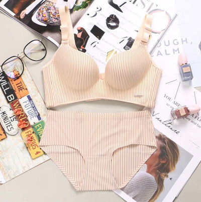New Brand Spring Sexy Push Up Bra Sets Women's Fashion Striped Underwear Set Intimate Noble Young Girl Bra Brief Sets