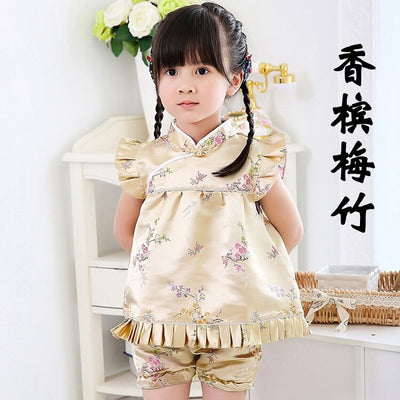 2019 New Summer Floral baby girls clothes sets outfits infant suits New Year Chinese tops dresses short pants Qipao cheongsam