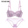 Luxury Green Bra And Panty Set Thin Cotton Brassiere Push-up Bra Set Plus Size C D Cup Lace Underwear Set Purple Sexy Lingerie