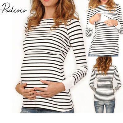 2018 Brand New Women Cotton Maternity Nursing Tops Long Sleeve Slim Fit Long Pregnant Blouse Striped Long Sleeve Tops Shirts