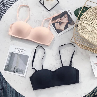 Summer Fashion Bra Seamless Wire Free Strapless Bras Breathable Solid Sexy Lingerie Wedding Cozy Invisible Bras For Women