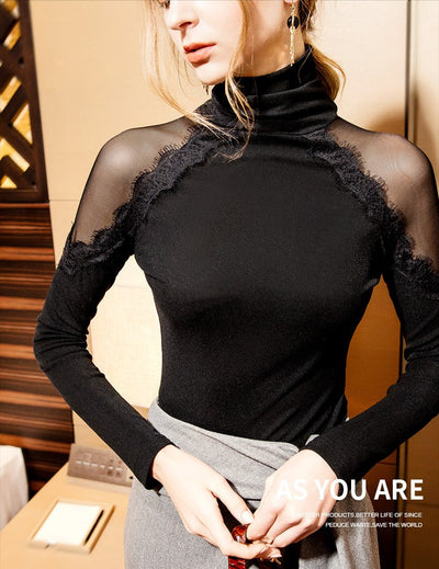 Sexy Eylash Lace Bodysuit T-Shirt Mesh High Neck Bodysuit With Long Sleeve Plus Size 3XL Elasticity Women Body Mujer For Women