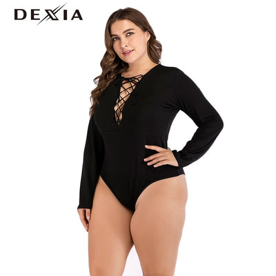 DEXIA Lace Up Women Jumpsuits Casual Black V-Neck Skinny Bodysuits Hollow Out Basic Fashion Knitted Sexy Playsuit Ladies A71