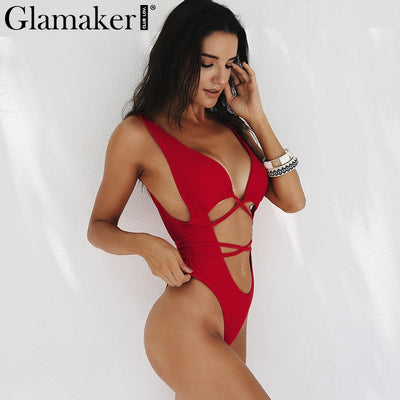 Glamaker Hollow out deep v neck black sexy bodysuit Women backless party bodycon bodysuit Summer sleeveless red beach bodysuit