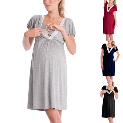 Fashion Lace Patchwork Maternity Nightgown Short Sleeves Feeding Dresses Robe with Belt Pregnant women's Breastfeeding Clothes