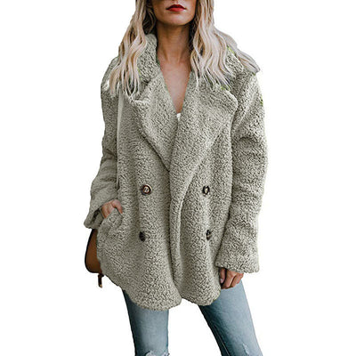 2019autumn winter warm clothing Female jacket plush coat artificial fluffy fleece10 color optional plus sizeS-5XL jacket women's