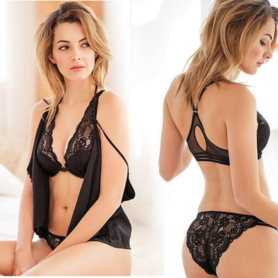 Deep V Lace sexy lingerie temptation female thin beauty back bra set Gather Front buckle breathable thin Set summer