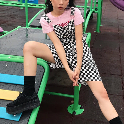 2018 Checker Suspender Trousers Women  Short Pants Men Black White Plaid Unisex Playsuit Chic Streetwear Loose Causal Short