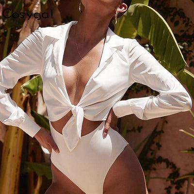 COSYGAL New Design Summer Jumpsuit Women Sexy Cut Out Bodysuits High Waist Bodysuit Long Sleeve Solid Short Romper