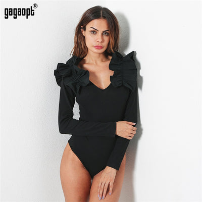 Gagaopt 2018 Summer Overalls Women Bodysuit V Neck Stitching Lotus Long Sleeve Bodysuits Slim Jumpsuit Combinaison Femme