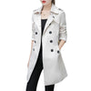 2018 Autumn Women Double Breasted Long Trench Coat Khaki With Belt Classic Casual Office Lady For Work Business Outwear Fall New