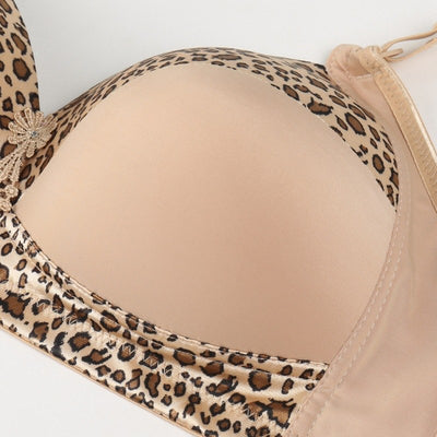 Luckymily Women Underwear D E Big Size bra Slimgril Women's Sexy Health Leopard Bra Adjusted Wire Free Gathered Push Up Bras