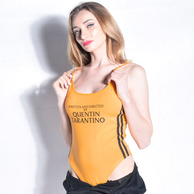QUENTIN TARANTINO Bodysuit Women Sleeveless Striped Bandage Overalls 2018 Yellow Rompers Overalls Bodycon Bodysuit Wholesale