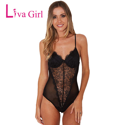 Liva Girl Sexy Backless Black Lace Mesh Bodysuit Perspective Skinny Fringe Jumpsuit Romper Women Summer Playsuits Coveralls