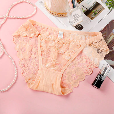 Women's Underwear Sexy Lace Panties Ladies Seamless Briefs Cotton Female Embroidery Ultra-Thin Transparent Breathable Soft B0036