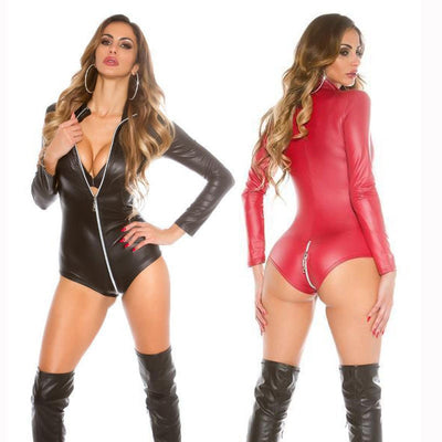 Sexy PU Leather Catsuits Women's Long Sleeve Bodysuits Plus Erotic Leotard Costumes Black Red Zip Front To Back Catwomen Costume