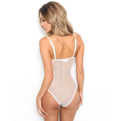 FHTEX Sexy Lace Mesh Patchwork See Through Nightclub Bodysuit Women Sleeveless Spaghetti Strap Tight Slim Rompers Jumpsuit