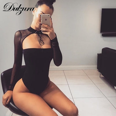 Dulzura mesh patchwork long sleeve sexy high neck lace up bodysuit 2018 summer autumn women black solid body