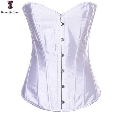 Satin Corset Plus Size Front Buckle Closure Overbust Corselet Gothic Lingerie Black White Pink Purple White Red Sexy Bustier 6XL