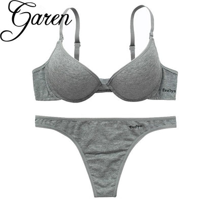 CINOON women intimates gray Cotton underwear Top quality bra and panty set push up bralette brassiere lingerie female set